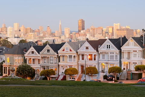 The Painted Ladies, the painted houses on Alamo Square, San Francisco